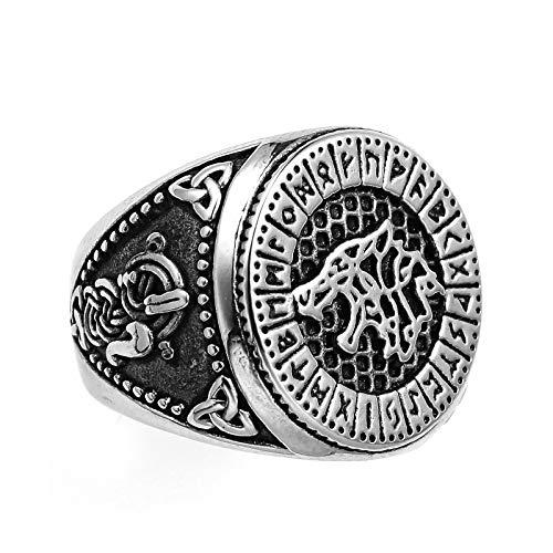 HHW Nórdico Vikingo Odin Lobo Runa Anillo Acero Inoxidable 316L Hombres Fenrir Amuleto Pagano Proteccion Talismán Joyas,Plata,10