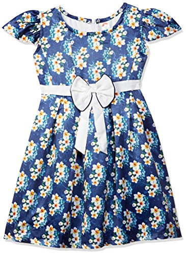 COOL TRIBE Girl's Satin Knee-Long Dress (TOP-14_Multicoloured_5-6Y)