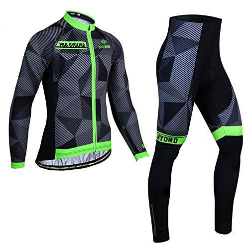 PGone Vélo à Manches Longues d'hiver Costumes de vélo Hommes - Vêtements de vélo en Plein air Set Shadow Motif Shadow Road Vélo Vélo VTT Equitation (Size : X-Large)