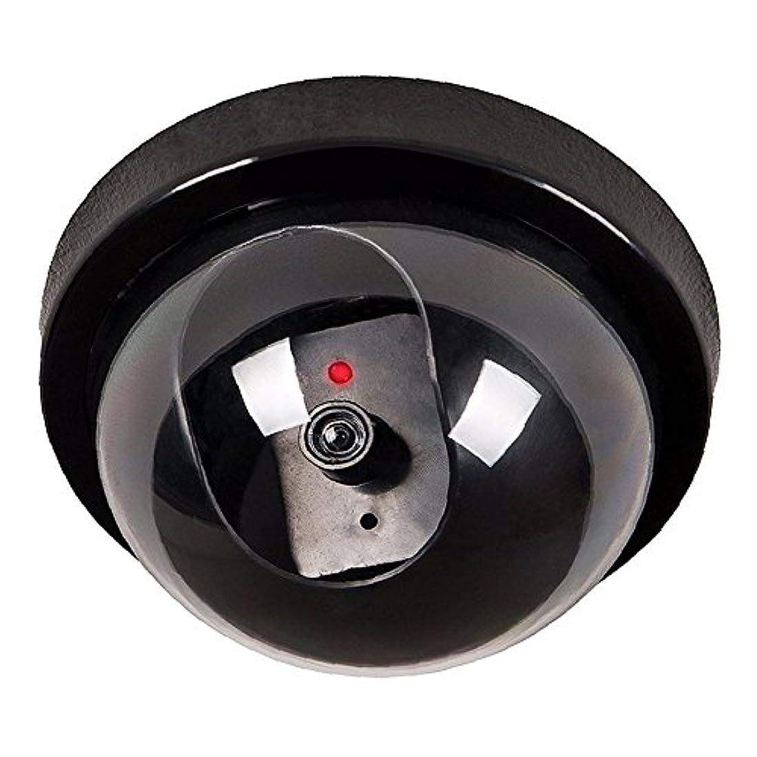 力強いバッフルつかいますSODIAL(R) 黒のインドア アウトドアCCTV擬似ダミードーム防犯カメラ 点滅する赤色LEDライト付き