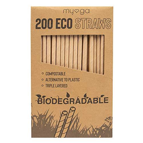 Pajitas Myga Eco – 200 unidades de triple capa de papel kraft reutilizable – 100% ecológico biodegradable alternativa al plástico de un solo uso