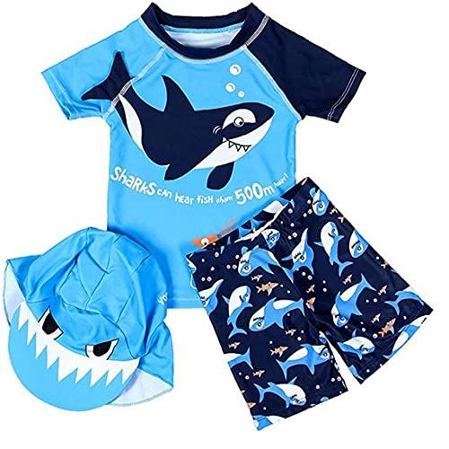 NIDONE Traje de baño de los bebés de la Manga Corta Traje de Neopreno Bañador con Tapa para Boys Blue 2XL 3PCS