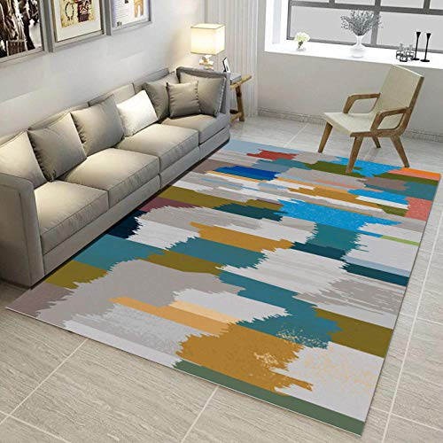 CMwardrobe Alfombra Moderno Salón Dormitorio Comedor diseño Tapete Gris,Verde,Amarillo Mostaza,Arte Abstracto Colorido...