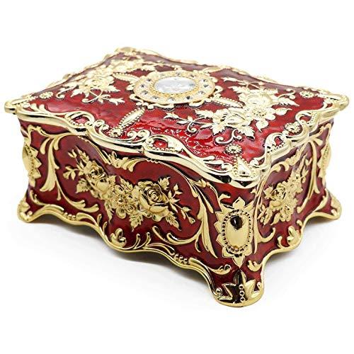 WNN - Caja de joyería URG de aleación rectangular de metal vintage, diseño de dos capas, color blanco y rojo URG (color: rojo).