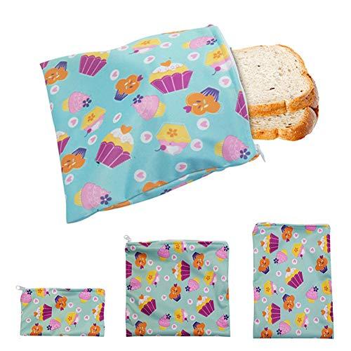 Funduo - Bolsa para sándwich – Lote de 3 bolsas reutilizables y ecológicas para almuerzo lavables, doble capa, para viajes de trabajo de acampada escolar, sin BPA (azul)