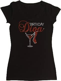 Women's T-Shirt with Birthday Diva Heel and Martini in Rhinestones