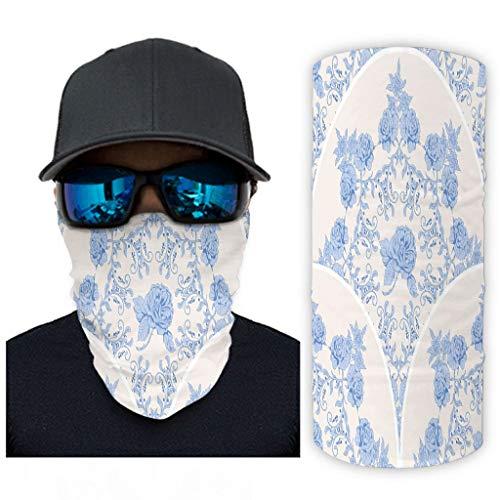Nationales Stilmuster 12 in 1 Multifunktional Sport-Halstuch 3D Lustig Nahtloses Schlauchschal für Staub Wind Sonnenschutz für Herren & Damen White OneSize