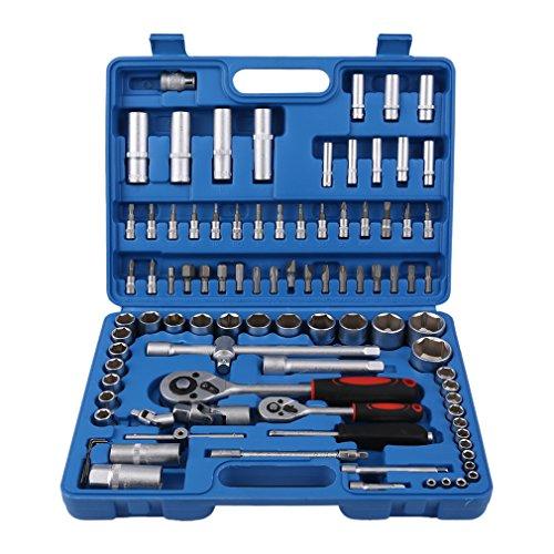 Steckschlüsselsatz 94-teilig mit Ratsche und Stecknuss-Satz für Mechaniker/Bit-Set/Steckschlüssel (Blau/94 tlg)