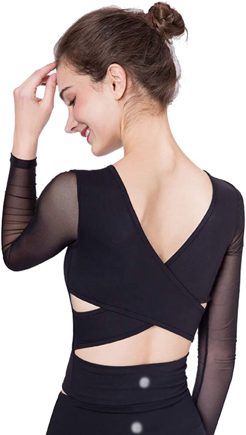 New Yoga Clothing Tops Women's Strap Long Sleeve Vests Workout Sports TShirt Builtin Bras (color   B, Size   L)