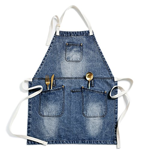 Jeanerlor Utility Soft Jean Apron by UsingSpecialWashesandDistressingMethods for Professional Carpenter, with Towel Loop + Tool Pockets + Neck Straps and Adjustable up to XXXL for Men & Women.