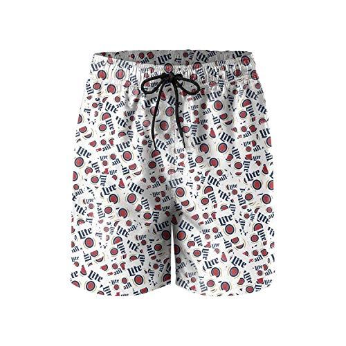 FUEWJFDIW Men's Waterproof Swim Trunks Quick Dry Miller-Lite-Football- Bathing Suits Beach Wear with Pockets