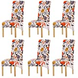 KELUINA Printing Fabric Stretch XL Chair Covers for Dining Chairs, 2/4/6 Pcs Elastic Large Chair Slipcover for Dining Room Wedding Banquet Party Decoration (Multi-1,6 Pack)