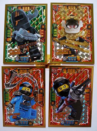 Lego Ninjago Serie 4 - 4 Limitierte Gold Karten Trading Card LE 6 Mega Power Jay LE 4 NYA LE 7 Samurai X LE 23 Böser Arkade Gold Sticker