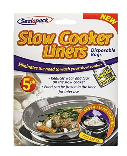 Sealapack Slow Cooker Einlagen, 5 Stück, für runde und ovale Herde, Kunststoff, durchsichtig, Universal