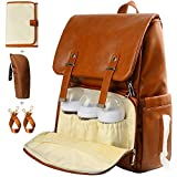 Leather Diaper Bag Backpack, Nappy Bag Baby Bags for Mom Unisex Maternity Diaper
