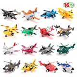 JOYIN 16 PC Pull Back Aircraft Airplane Plane Toys Vehicle Playset, Including Helicopter Toys, Jet Toys, Fighter Jet...