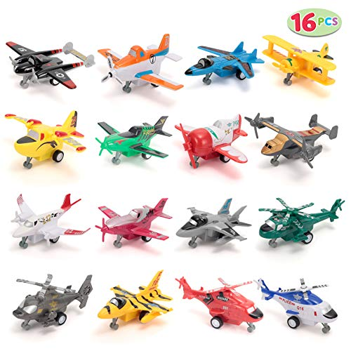 JOYIN 16 PC Pull Back Aircraft Airplane Plane Toys Vehicle Playset, Including Helicopter Toys, Jet Toys, Fighter Jet Toys, Bomber Toys, Biplane Toy and More!