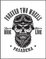 【スカル ヘルメット バイク】 ポストカード・はがき(白背景)