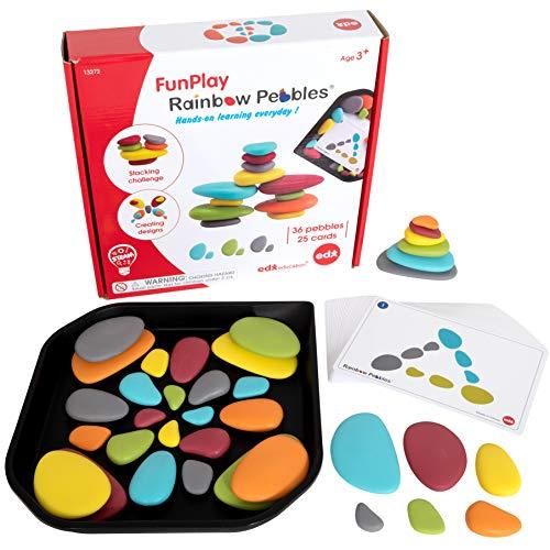 EDX Education 72305 FunPlay Rainbow Pebbles - Activity Tray & Guide Included