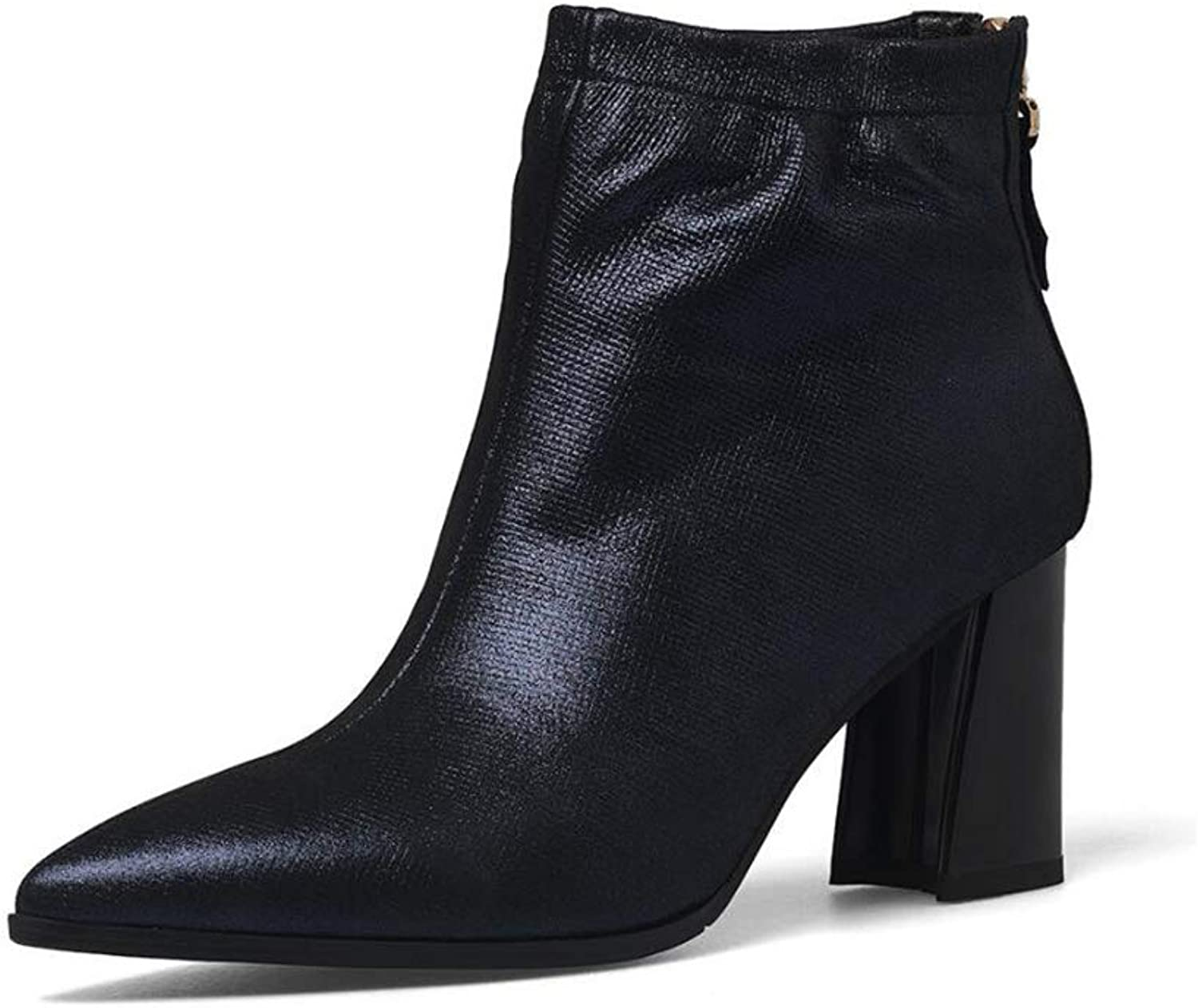 Women's Booties, Autumn Winter Leather Booties, Ladies' Boots, Pointed Thick Heel Boots, Korean Academy Boots (color   Black, Size   41)