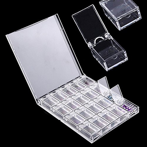 Nail Art Storage Box 20 Grilles Transparent Acrylic Nail Art Decorations Storage Box Strass Perles Container Case For Eyelash, Little Jewelry, Cosmetics, Supplies, Small Tools, Spare Parts
