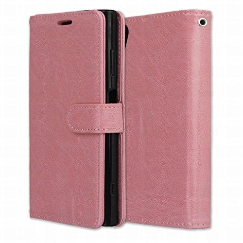 Laybomo Schuzhülle für Sony Xperia XA1 Plus Hülle Ledertasche Weiches Gummi Silikon TPU Haut Beutel Schützend Stehen Bilderrahmen Brieftasche Schale Tasche Handyhülle für Sony Xperia XA1 Plus (Rose)