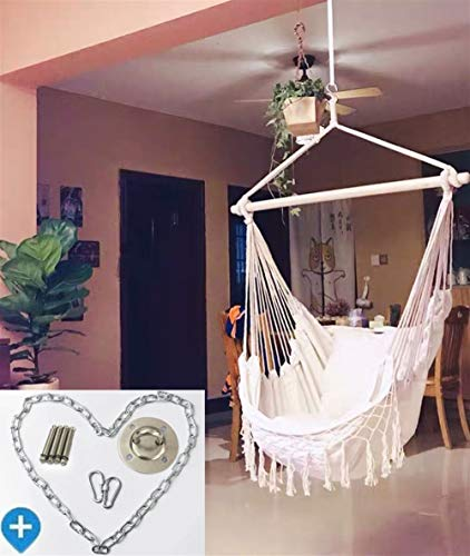 QQZQQ Hanging Rope Hammock Chair Swing Seat- Max 330 Lbs - Soft-Spun Cotton Rope, Hardwood Spreader Bar, Wide Seat, for Outdoor Indoor Yard Bedroom Patio Porch - 2 Seat Cushions Included, White