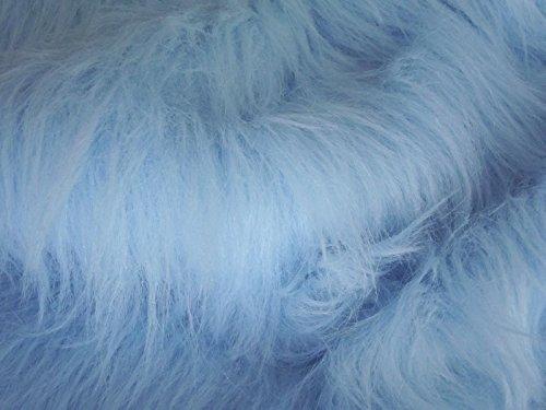 CRS Fur Fabrics Tela de Pelo sintético de Pelo Largo, Color Azul Claro