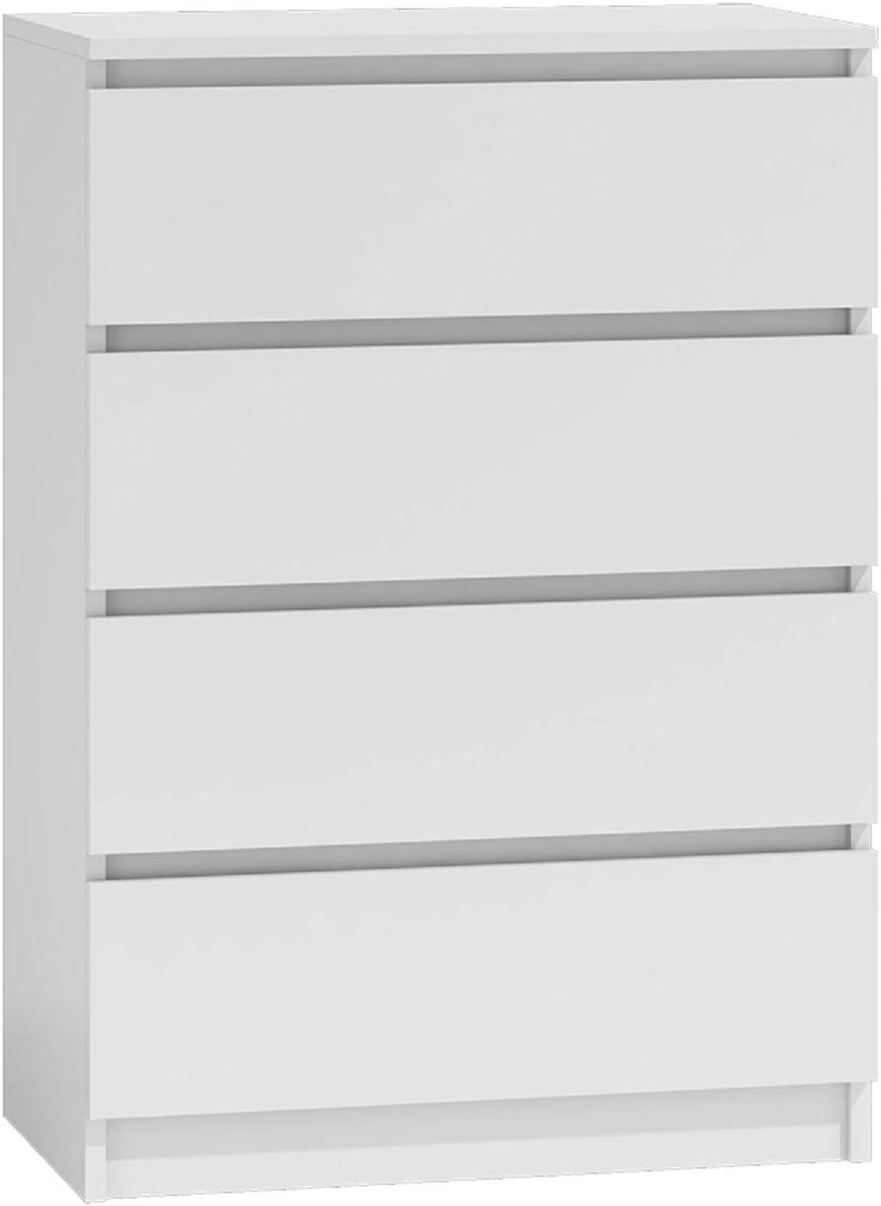 NOXEN Kommode M4 70 weiß, Schlafzimmermöbel, Schrank, vier Schubladen, Nachttisch, Schrank für Zuhause, Wohnzimmer, Flur (weiß)