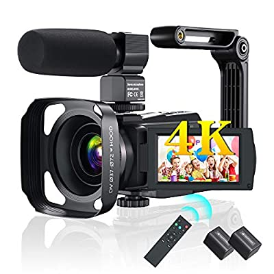 4K Video Camera Kenuo Camcorder YouTube Camera HD Night Vision with Remote,Microphone,Lens Hood 2 Batteries from