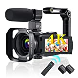 4K Videos Camera 48MP Camcorder YouTube Vlogging 16X Digital 3.0 in IPS Touch Screen Zoom IR Night HD Vision Camcorder with Microphone,2.4 G Remote,Stabilizer,Hood,Batteries