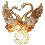 Lámpara de Pared Moderna Para Interior Lámpara de pared de cisne fijada Lámpara de pared de aleación de resina de oro europea de Swan Lámpara de pared de cristal esférico creativo lámpara de pared dor