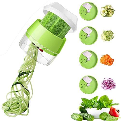 ZWWZ Máquina para Hacer Pasta con Verduras,Espaguetis de calabacín y Espaguetis con Verduras y Pasta con Verduras 4 en 1,para Comidas Bajas en carbohidratos/Paleo/sin Gluten