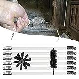 Esplic Rohrbürsten-Reinigungsset mit Verlängerungsstange, Reinigungsbürstensatz für Trocknerentlüftungskanäle, Kaminrohrbürste  - Mit oder ohne Bohrmaschine verwenden