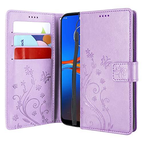 CMID Motorola Moto E6 Plus Hülle, Ständer PU Leder Brieftasche Handytasche Flip Bookcase Schutzhülle Cover mit Handschlaufe für Moto E6 Plus (Violett)