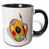 3dRose Art Brushes And Paint Mug, 11 oz, Black/White