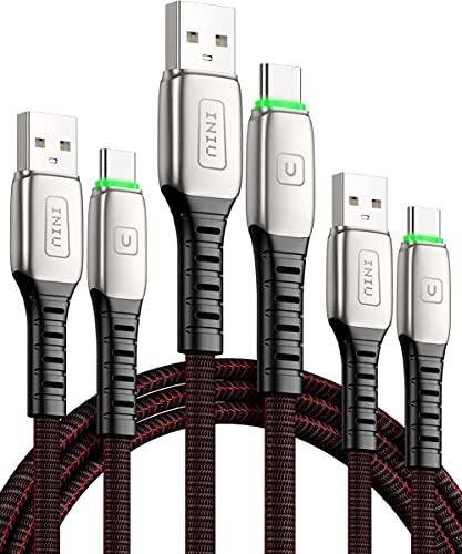 USB C Kabel, INIU [3 Stück] 3.1A QC 3.0 USB Typ C Ladekabel, [0,5m+1m+2m] USB-C Schnellladekabel Datenkabel mit geflochtenem Nylon für Handy Samsung S21 S10 S9 Note 20 10 Huawei Xiaomi Oneplus LG usw.