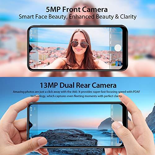 Blackview A60 Smartphone ohne Vertrag Günstig 15,49 cm (6,1 Zoll) HD+ Display 4080mAh Akku, 13MP+5MP Dual Kamera, 16GB ROM, 128 GB erweiterbar Dual SIM Android Einsteiger Handy - Mist Blau
