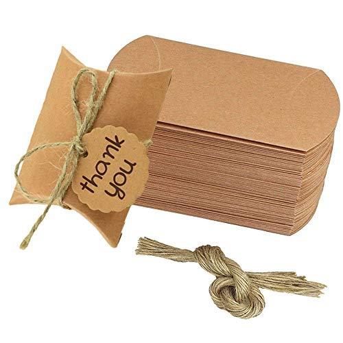 Scatola di Caramelle di Carta Kraft, 50 Pezzi Scatola a Cuscino di Caramelle di Carta, Scatola a Cuscino di Carta, per Biscotti Fatti a Mano con Zucchero di Noci al Cioccolato Piccolo Regalo, Marrone