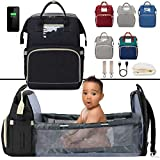 Pickery Products 3in1 Bassinet Baby Bed Crib - Travel Big Bag Diaper Bag for a Girl or Boy - Waterproof - Changing Station with Portable Crib Baby Sleeper - Black