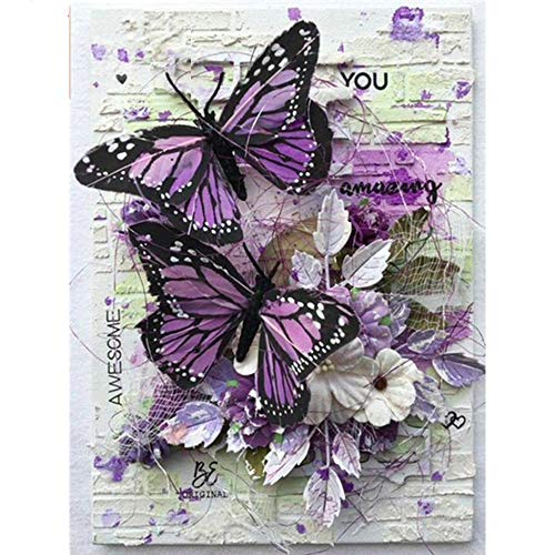 5D Diamond Painting Butterfly Kits for Adults Full Drill,Diamond Arts Dots Kits for Adults Christmas Paint with Diamonds Gem,Pictures Arts Craft for Home Wall Decor(12x14inch)