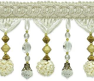 Expo International 20 Yards of Preshea Decorative Beaded Fringe Trim, White
