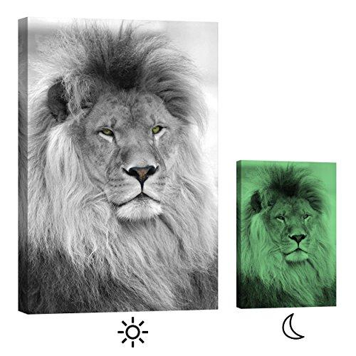 Décoration murale Startoshop, brillent dans le noir, toile murale, peinture murale de chevaux, Lion, noir et blanc , Catégorie Animaux, 80 cm x 120 cm
