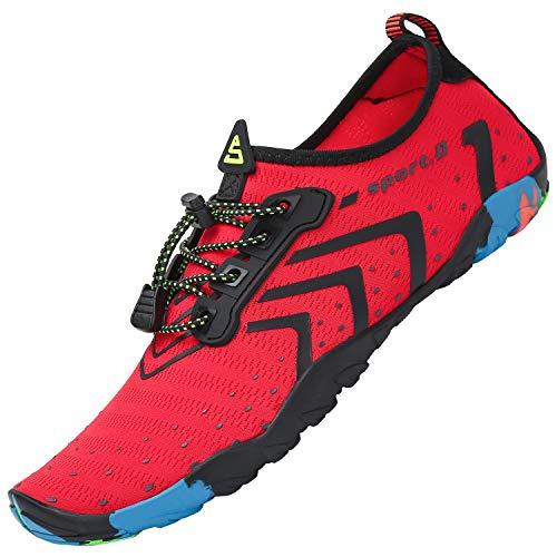Hombre Zapatillas de Deportes Acuáticos Secado Rápido Ligero Zapatos de Agua Mujeres Respirable Adulto Escarpines de Agua Buceo Yoga Piscina, Corrugado Rojo 44