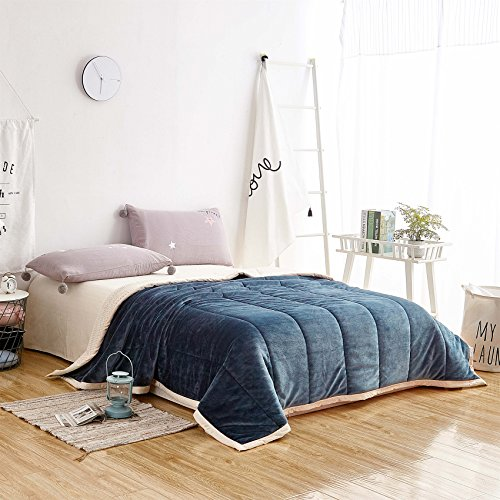 Longhui bedding Gray Blue Sherpa Plush Thick Warm Blanket 80 x 90 Queen Size Super Soft Fuzzy Microfiber Throw Blankets for Couch Sofa Bed, Navy Color Warm in Autumn and Winter,Straight line