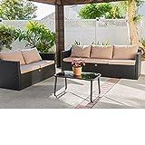 Barton Madison Outdoor Sofa Loveseat Patio Rattan Set Backyard Garden Deck 5-Seater Group Chair Include Cushions, Black/Beige