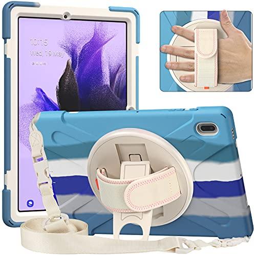 AdirMi Funda Anticaída para Samsung Galaxy Tab S7 FE 12.4 Inch 2021 (SM-T730/T735/T736B/T736N), Funda Duradera a Prueba de Golpes con Soporte 360, Correa de Mano y Correa para el Hombro,Colorful Blue