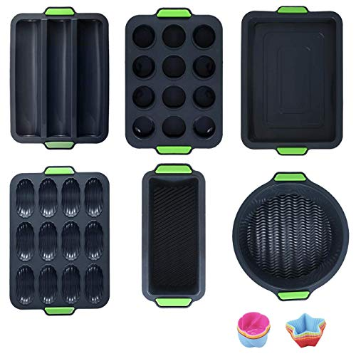 18in 1 Silicone Baking Molds, Silicone Nonstick Bakeware Set With Baking Pans, Cookie Sheets, Muffin/Bread Pan, Pizza/Cake Pan, Oven Microwave Dishwasher Safe, Bpa Free Food Grade Kitchen Gadgets