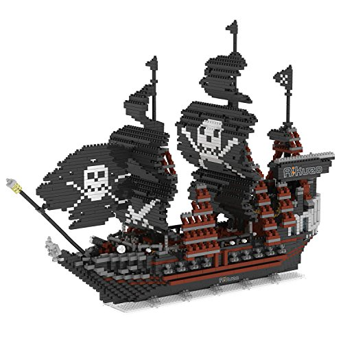 Rikuzo Caribbean Pirate Black Pearl Ship Model Building Block Set 3633pcs Large Ship - Nano Micro Blocks Toys Boat Gift