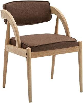 麻ロープアームレスト付きのモダンな木製ダイニングチェア快適な背もたれとキッチン用布張りパッド入りシート-リネンアームチェア